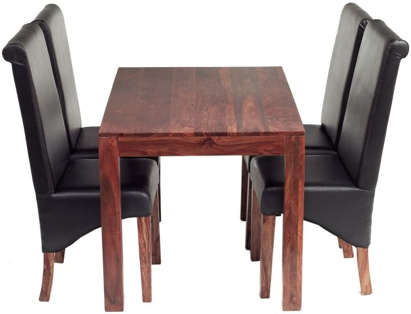 Indian Hub Cube Sheesham Small Dining Set with Leather Chairs