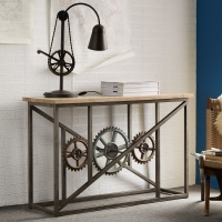 Indian Hub Evoke Iron And Wooden Industrial Console Table