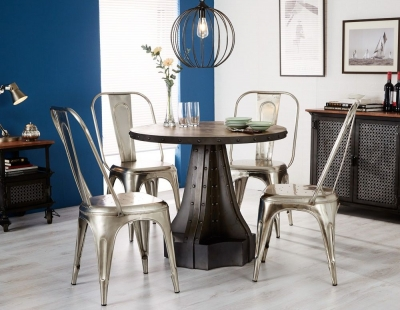 Indian Hub Evoke Iron and Wooden Industrial Round Dining Table and 4 Cosmo Silver Chairs