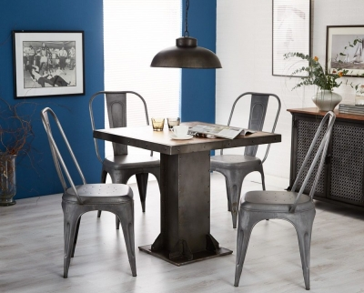 Indian Hub Evoke Iron and Wooden Industrial Square Dining Table and 4 Cosmo Grey Chairs