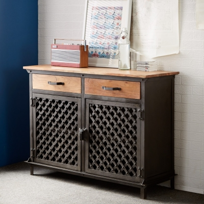 Indian Hub Evoke Iron and Wooden Jali 2 Door Large Sideboard