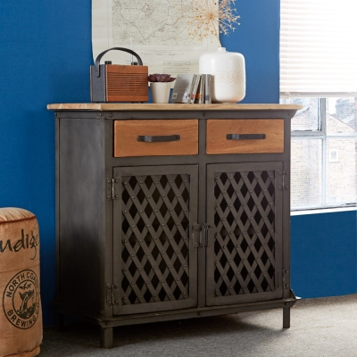 Indian Hub Evoke Iron and Wooden Jali 2 Door Small Sideboard
