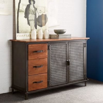 Indian Hub Evoke Iron and Wooden Jali Medium Sideboard
