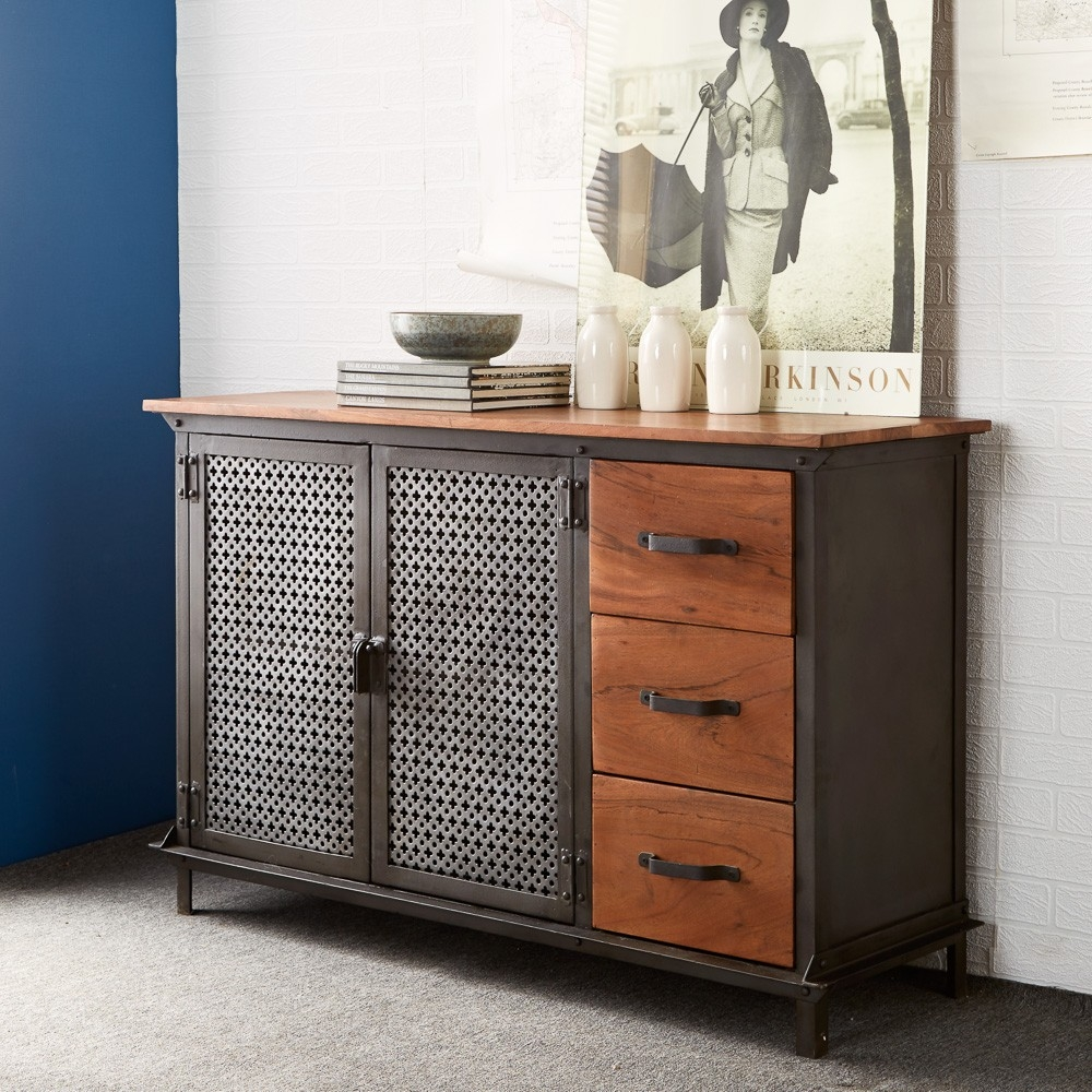 Buy indian hub evoke iron and wooden jali 3 drawer for Sideboard indien