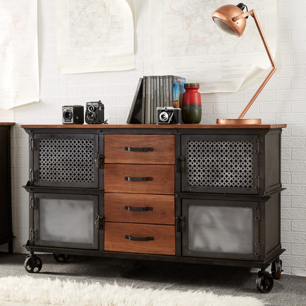 Indian Hub Evoke Iron and Wooden Jali 4 Drawer Sideboard