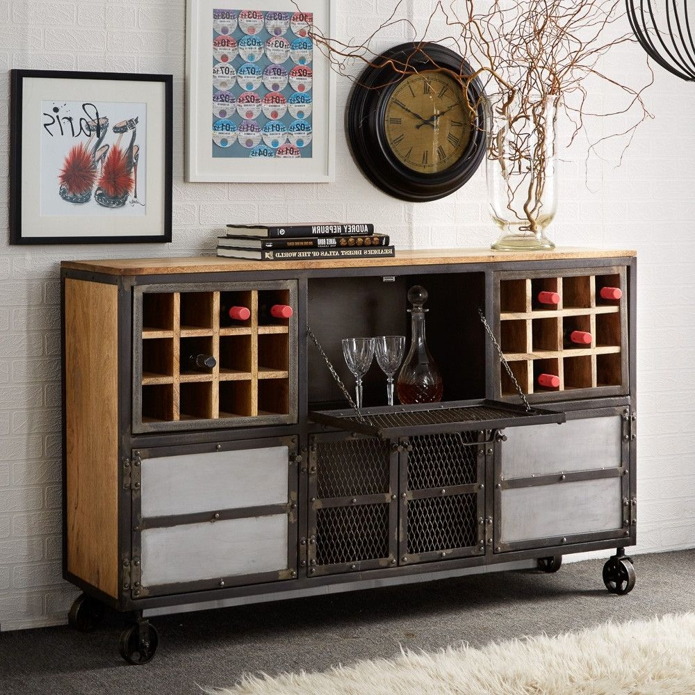 Indian Hub Evoke Iron and Wooden Jali Bar Cabinet