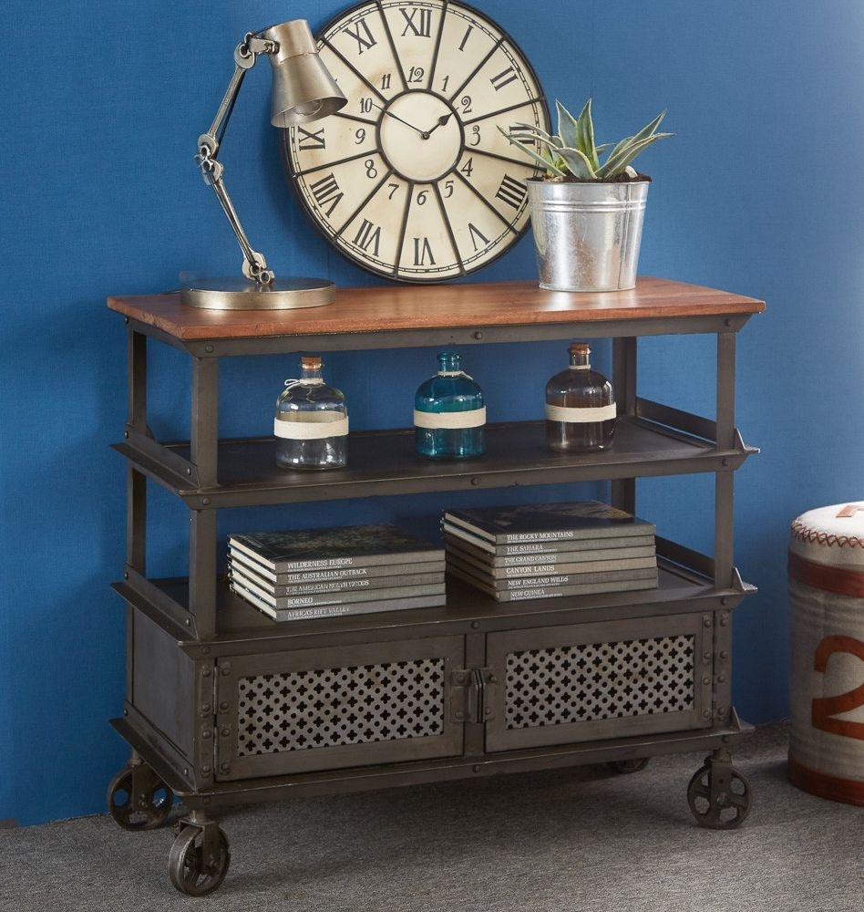 Indian Hub Evoke Iron and Wooden Jali Console Table