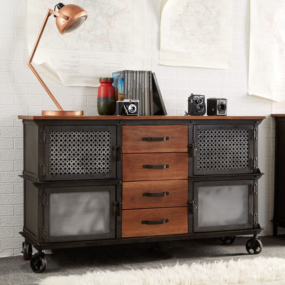 Indian Hub Evoke Iron and Wooden Jali Large Sideboard
