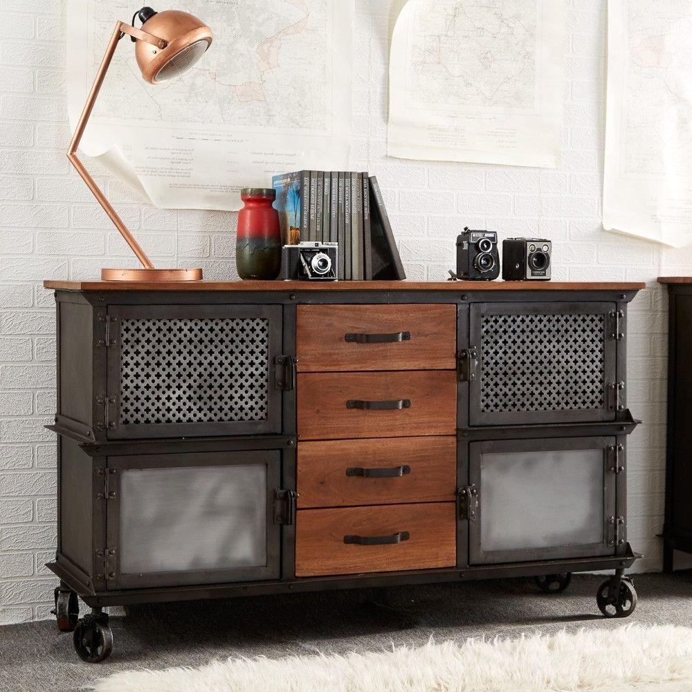 Indian Hub Evoke Iron and Wooden Jali Large Sideboard