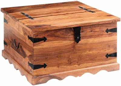 Indian Hub Jali Sheesham Coffee Table with Trunk