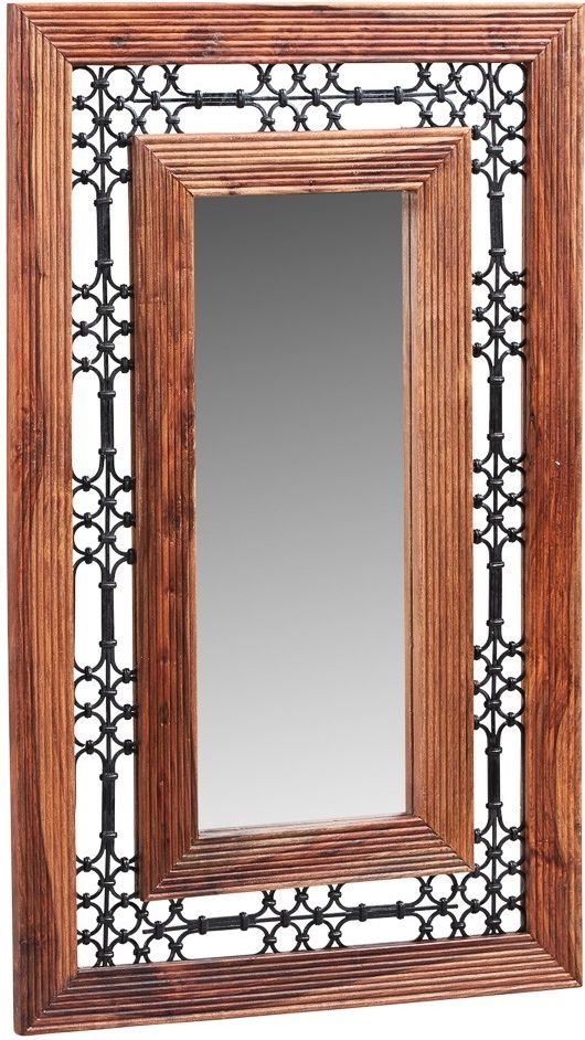 Indian Hub Jali Sheesham Large Rectangular Mirror