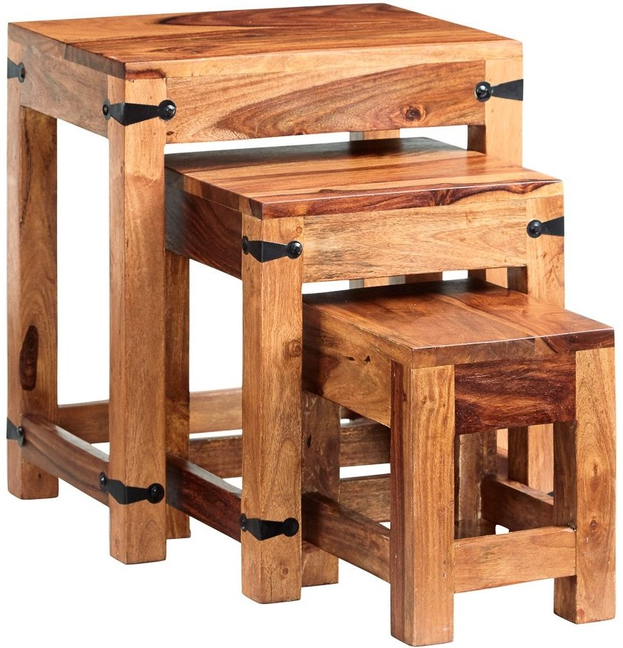 Indian Hub Jali Sheesham Nest of 3 Tables
