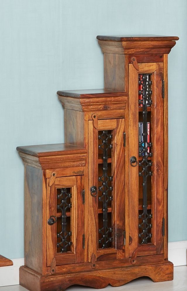 Indian Hub Jali Sheesham Step CD Cabinet