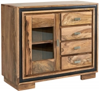 Indian Hub Jodhpur Sheesham 1 Door 4 Drawer Sideboard with Glass