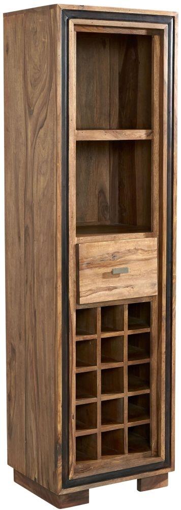 Indian Hub Jodhpur Sheesham 1 Drawer Wine Bookcase