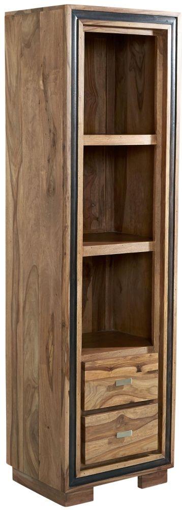 Indian Hub Jodhpur Sheesham 2 Drawer Slim Bookcase