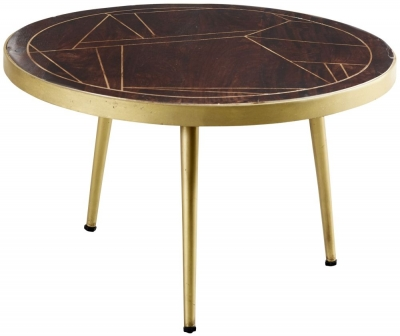 Indian Hub Mango Dark Gold Round Coffee Table