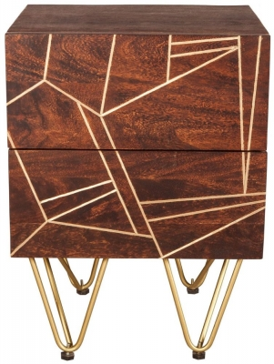 Indian Hub Mango Dark Gold Side Table