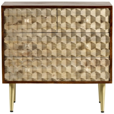 Indian Hub Mango Edison Two Tone 4 Drawer Chest