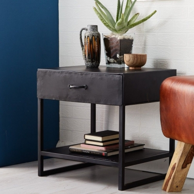 Indian Hub Metalica Dark 1 Drawer Lamp Table
