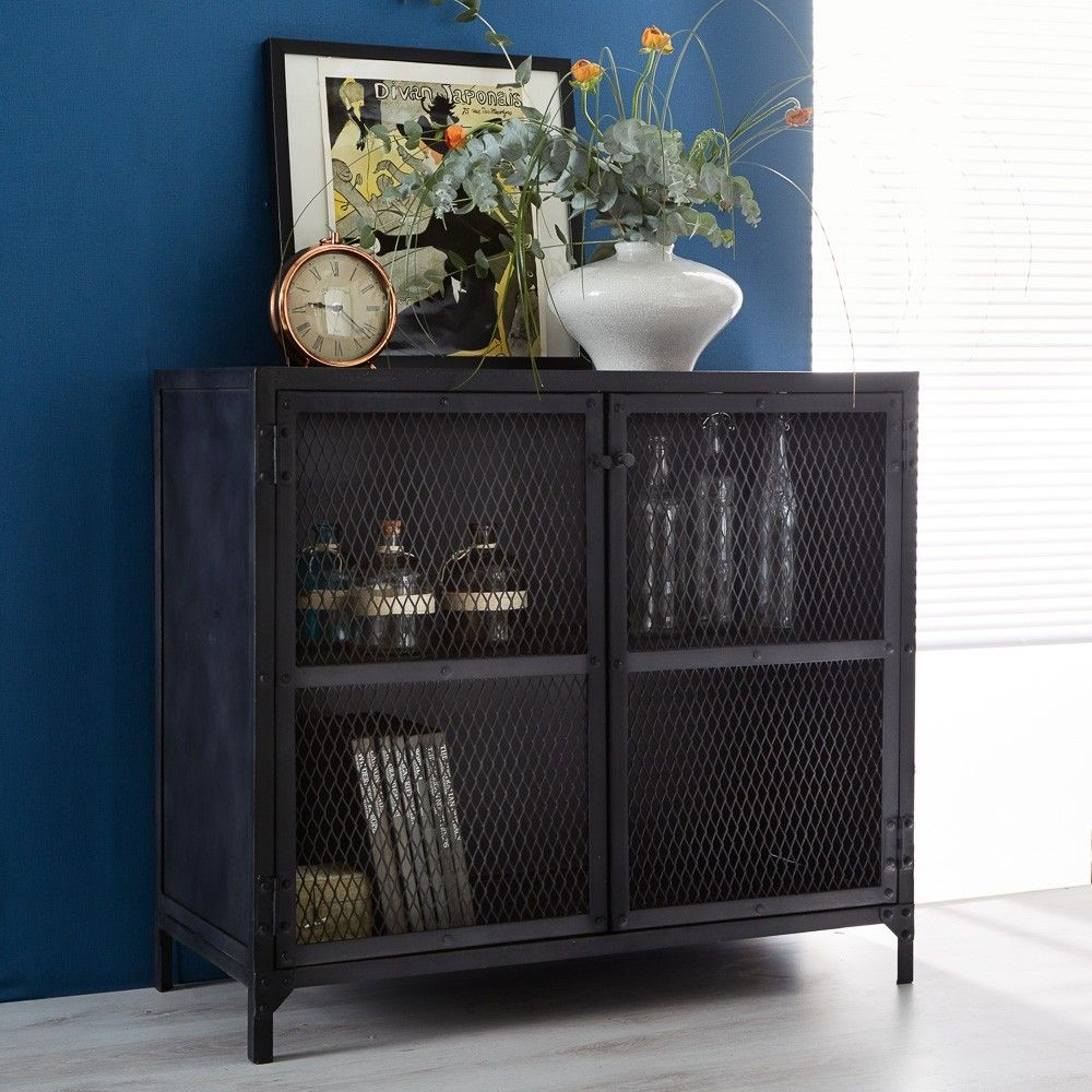Indian Hub Metalica Dark 2 Door Small Sideboard