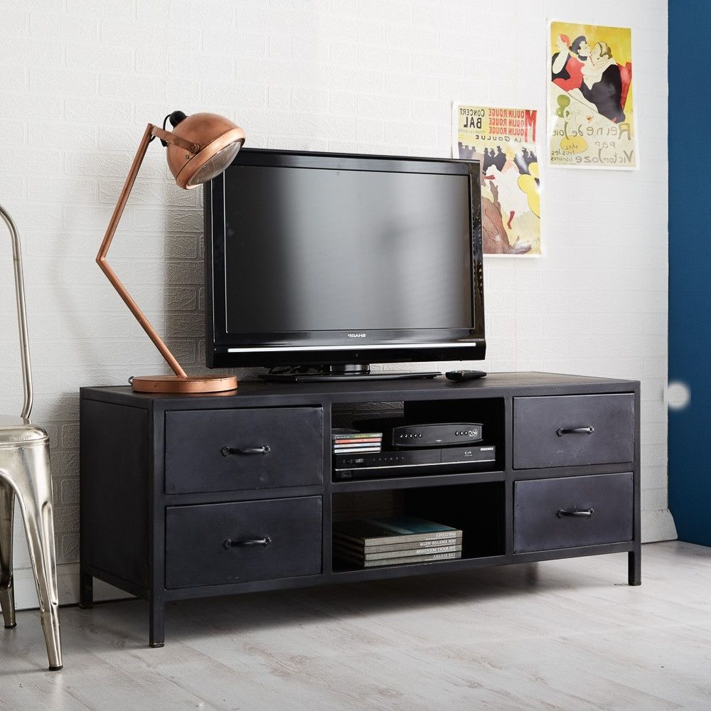 Indian Hub Metalica Dark 4 Drawer TV Media Unit
