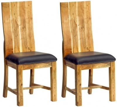Indian Hub Metro Acacia Dining Chair (Pair)