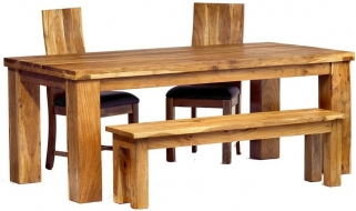 Indian Hub Metro Acacia Dining Set - Large with 2 Chairs and Bench