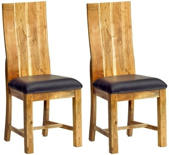 Indian Hub Metro Acacia Dining Chair (Pair)