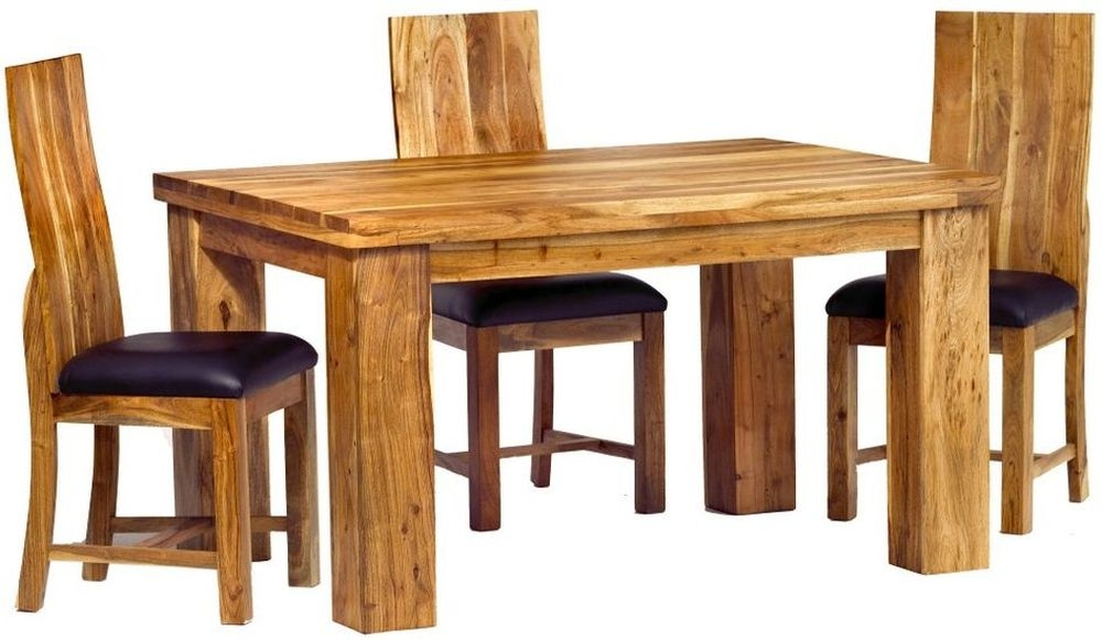 Indian Hub Metro Acacia Dining Set with 4 Chairs - 140cm