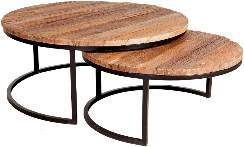 Indian Hub Reclaimed Railway Sleeper Wood and Metal Round Coffee Tables (Set Of 2)
