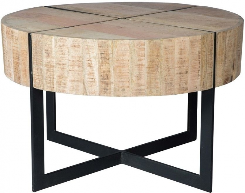 Indian Hub Reclaimed Wood and Metal Round Coffee Table