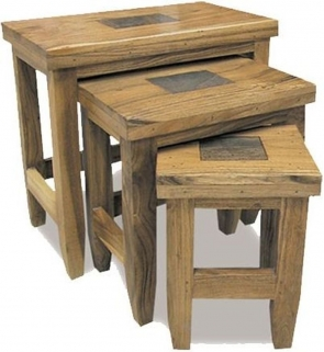 Indian Hub Slate Acacia Nest of 3 Tables