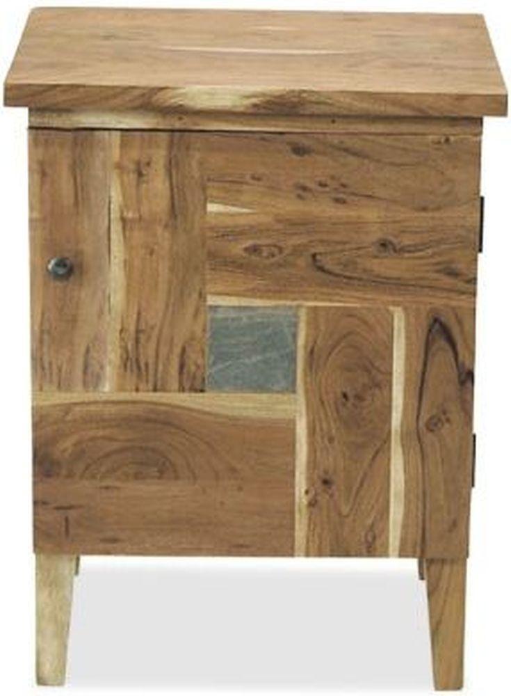 Indian Hub Slate Acacia Bedside Cabinet - 1 Door