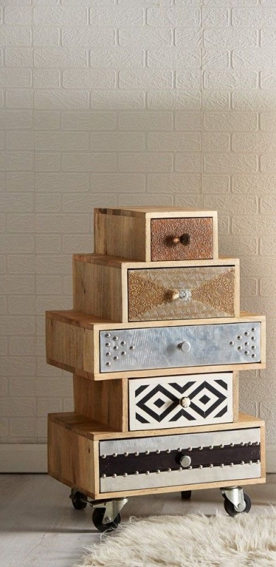 Indian Hub Sorio 5 Drawer Small Chest