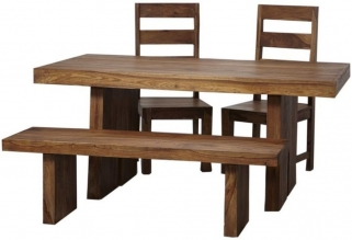 Indian Hub Stone Sheesham Dining Set with 2 Chairs and Bench
