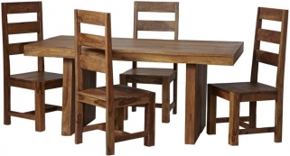Indian Hub Stone Sheesham Dining Set with 4 Chairs