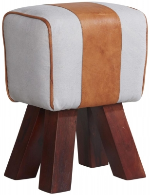 Indian Hub Canvas Leather Stool