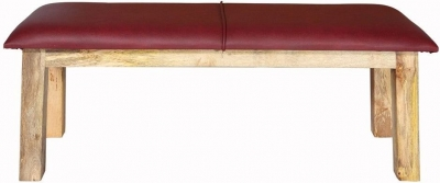 Indian Hub Turn Buck Leather Seat Bench with Solid Wood Legs