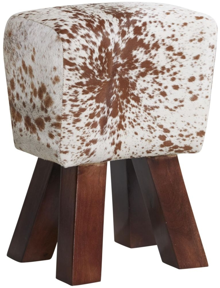 Indian Hub Cowhide Natural Leather Stool