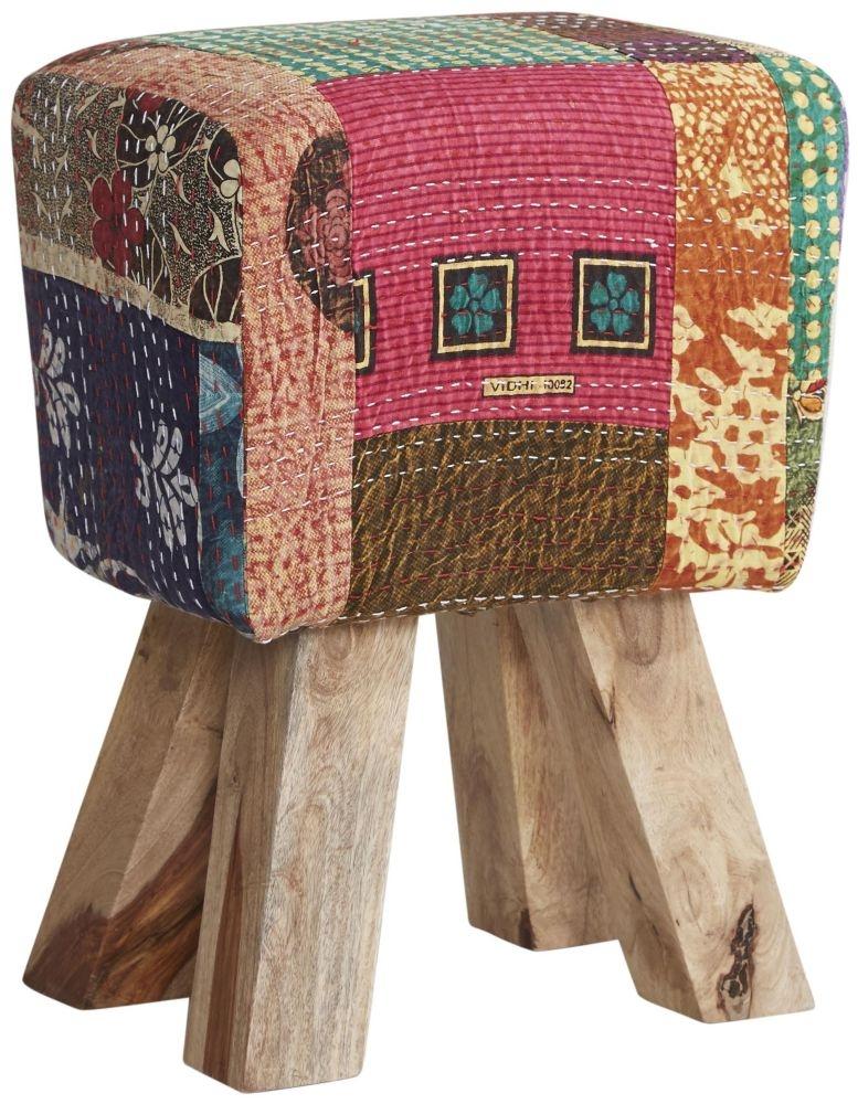Indian Hub Multi Colour Fabric Stool