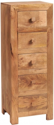 Indian Hub Toko Light Mango 5 Drawer Chest