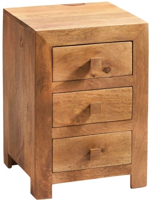 Indian Hub Toko Light Mango 3 Drawer Bedside Cabinet
