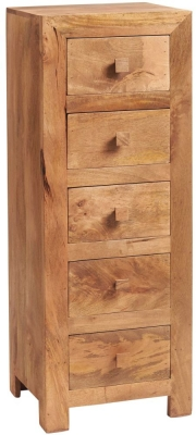 Indian Hub Toko Light Mango 5 Drawer Tallboy