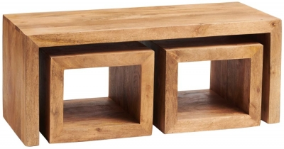 Indian Hub Toko Light Mango John Long Cubed Coffee Table (Set of 3)
