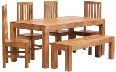 Indian Hub Toko Light Mango Large Dining Set with 1 Bench and 4 Slat Back Chairs