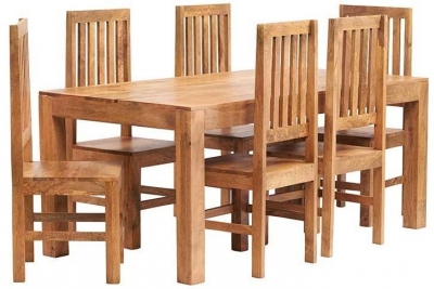 Indian Hub Toko Light Mango Large Dining Set with 6 Slat Back Chairs