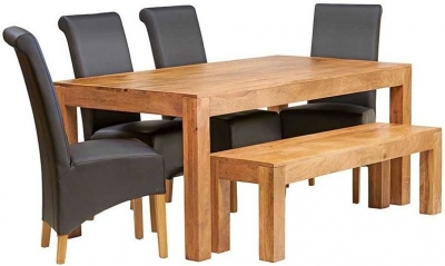 Indian Hub Toko Light Mango Large Dining Set with Bench and 4 Leather Chairs