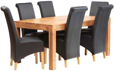 Indian Hub Toko Light Mango Large Dining Set with Leather Chairs