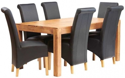Indian Hub Toko Light Mango Large Dining Table and Leather Chairs